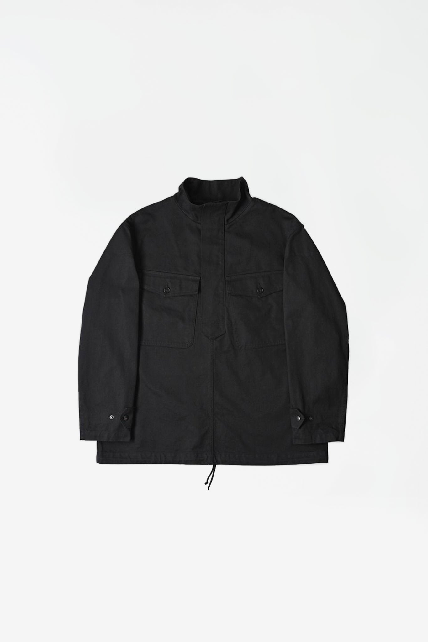 Parachute smock heavy cotton drill jacket black