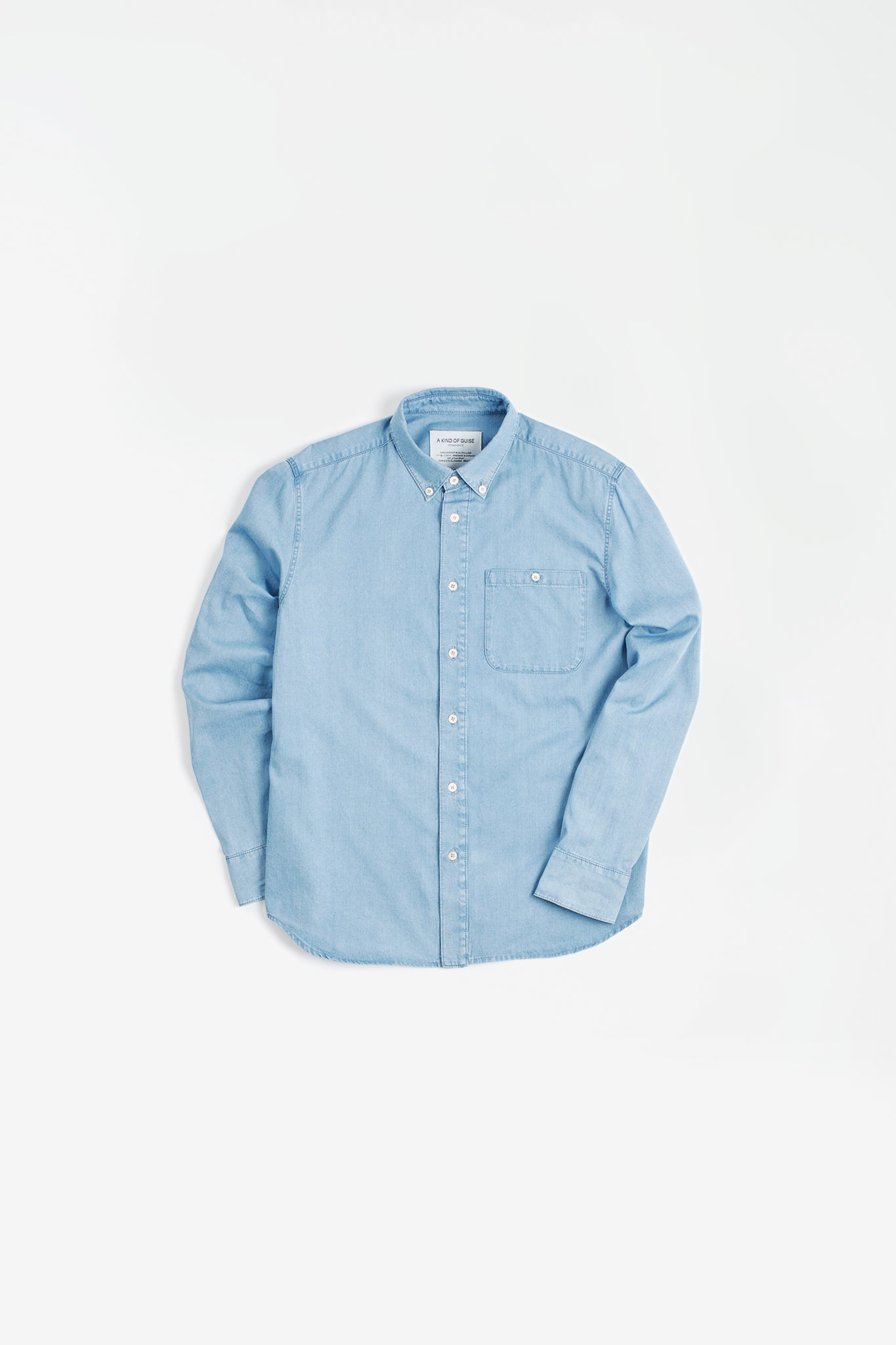 Permanents button down shirt bleached blue denim