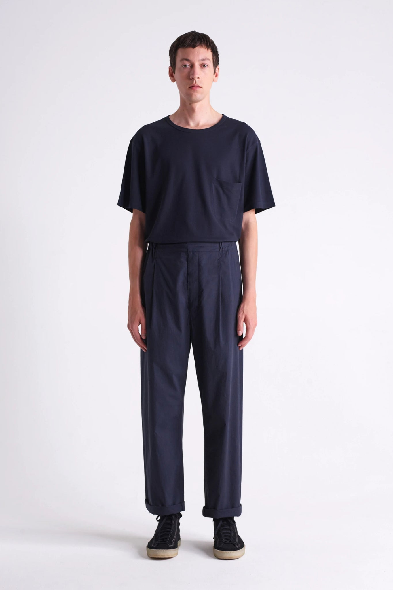 Pleated drawstrings pants carbon