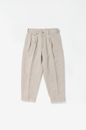 Pleated linen pants beige