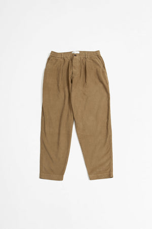 Pleated track pant cord taupe