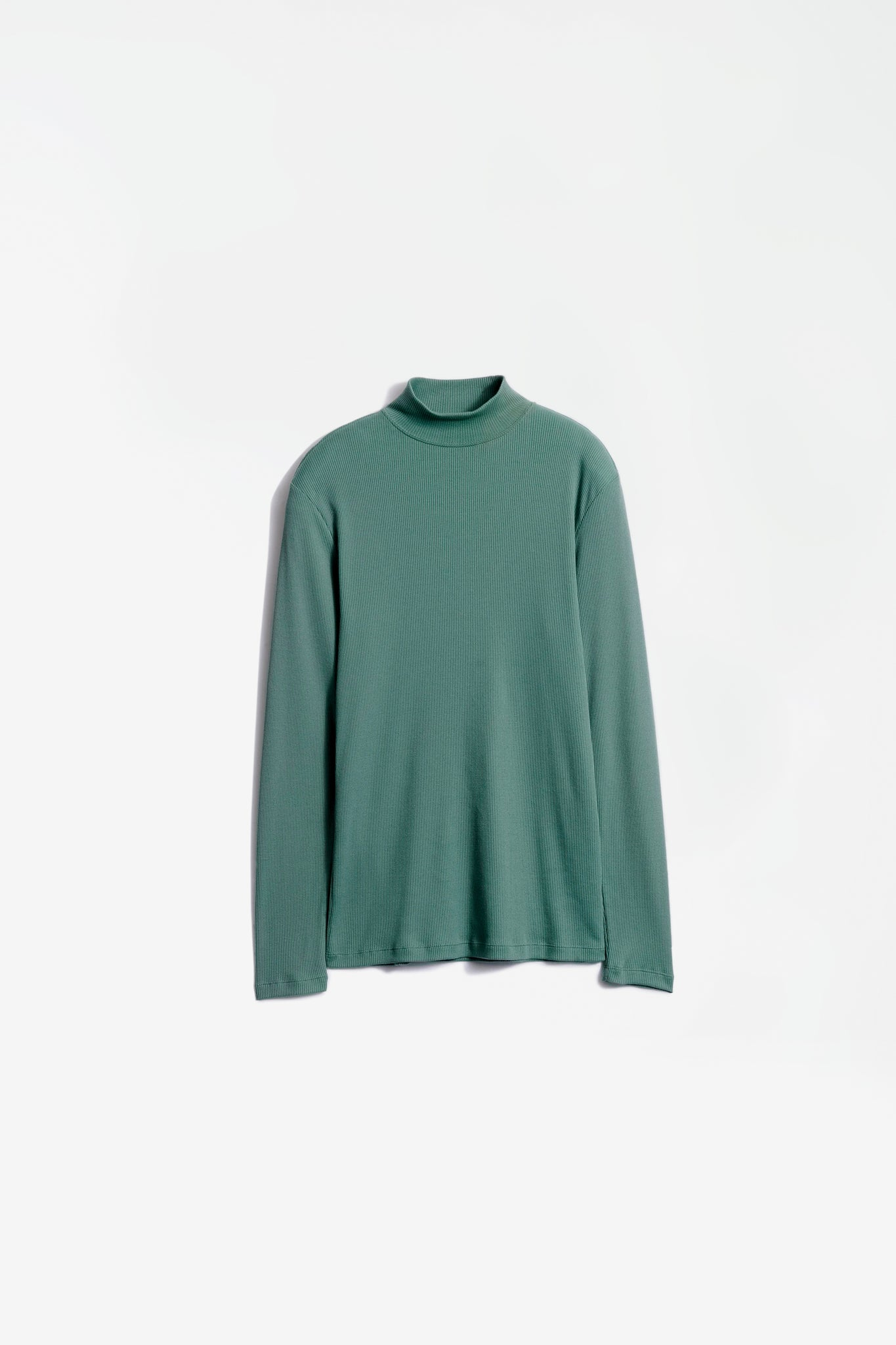 Rib mock neck top sauge