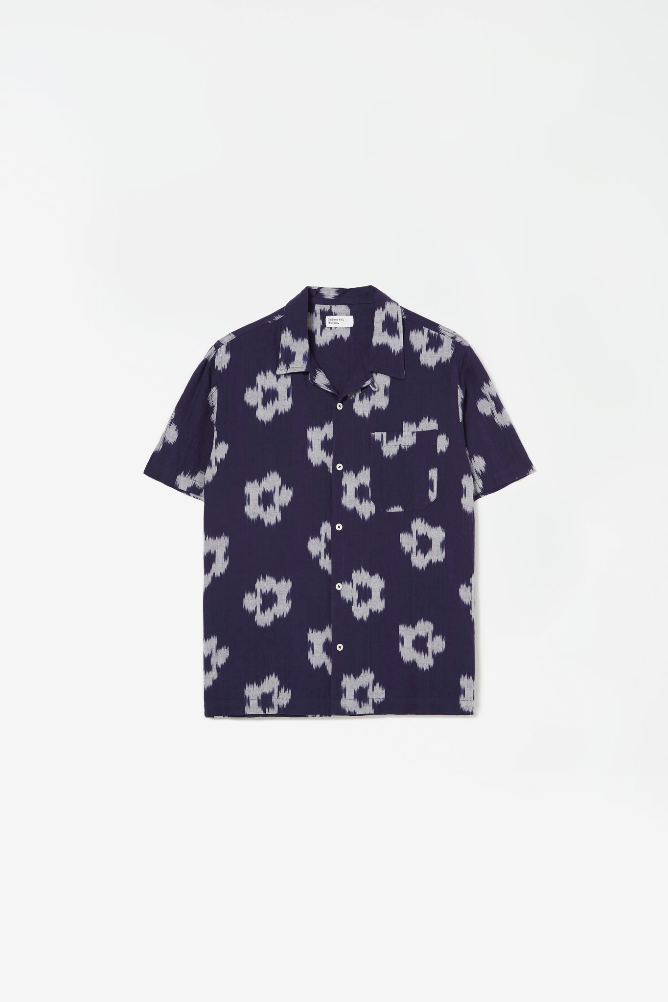 Road shirt ikat flower indigo