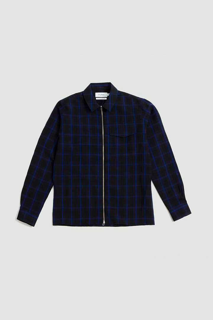 Zipshirt wool window pane dark blue