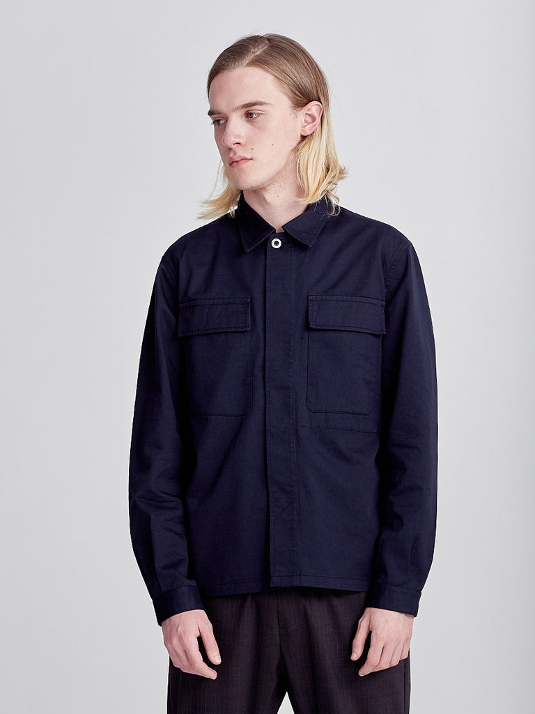 Military overshirt by Universal Works in blue navy
