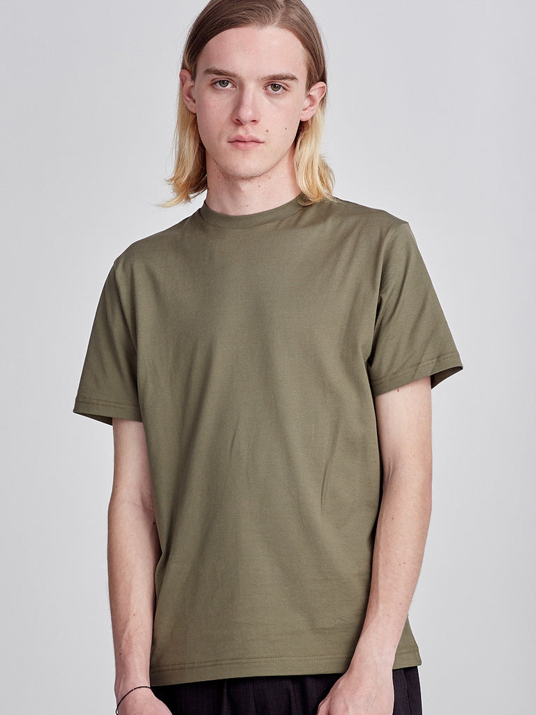 Khaki green cotton T-shirt made by Sunspel