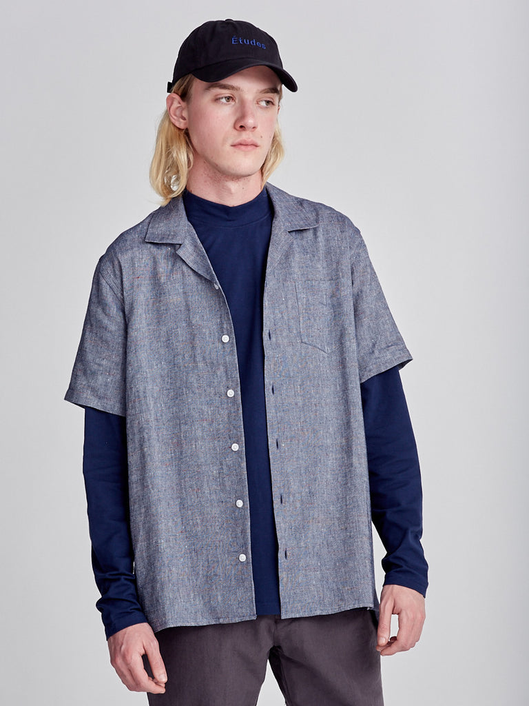 Libertine-Libertine blue shirt made from linen. Short sleeve shirt
