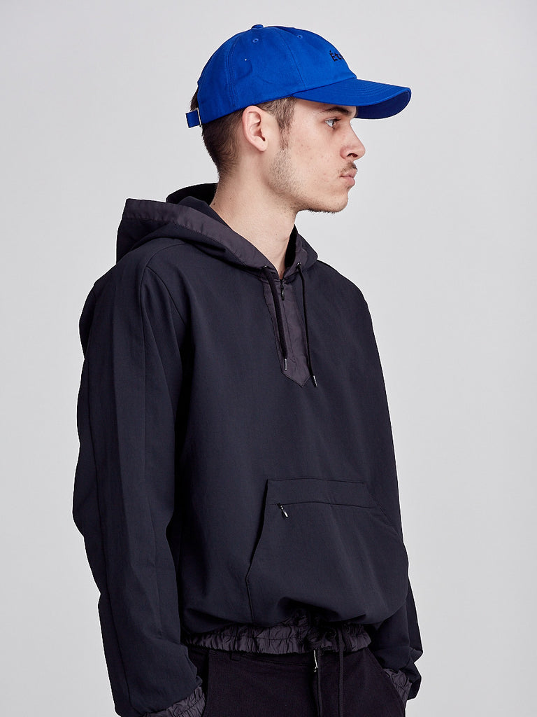 Alphadry smock jacket from Nanamica. Black Hoodie made in Japan