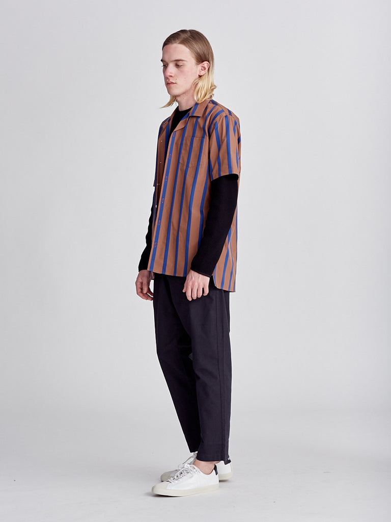 Libertine-Libertine blue and mustard cave shirt made from linen. Short sleeve shirt