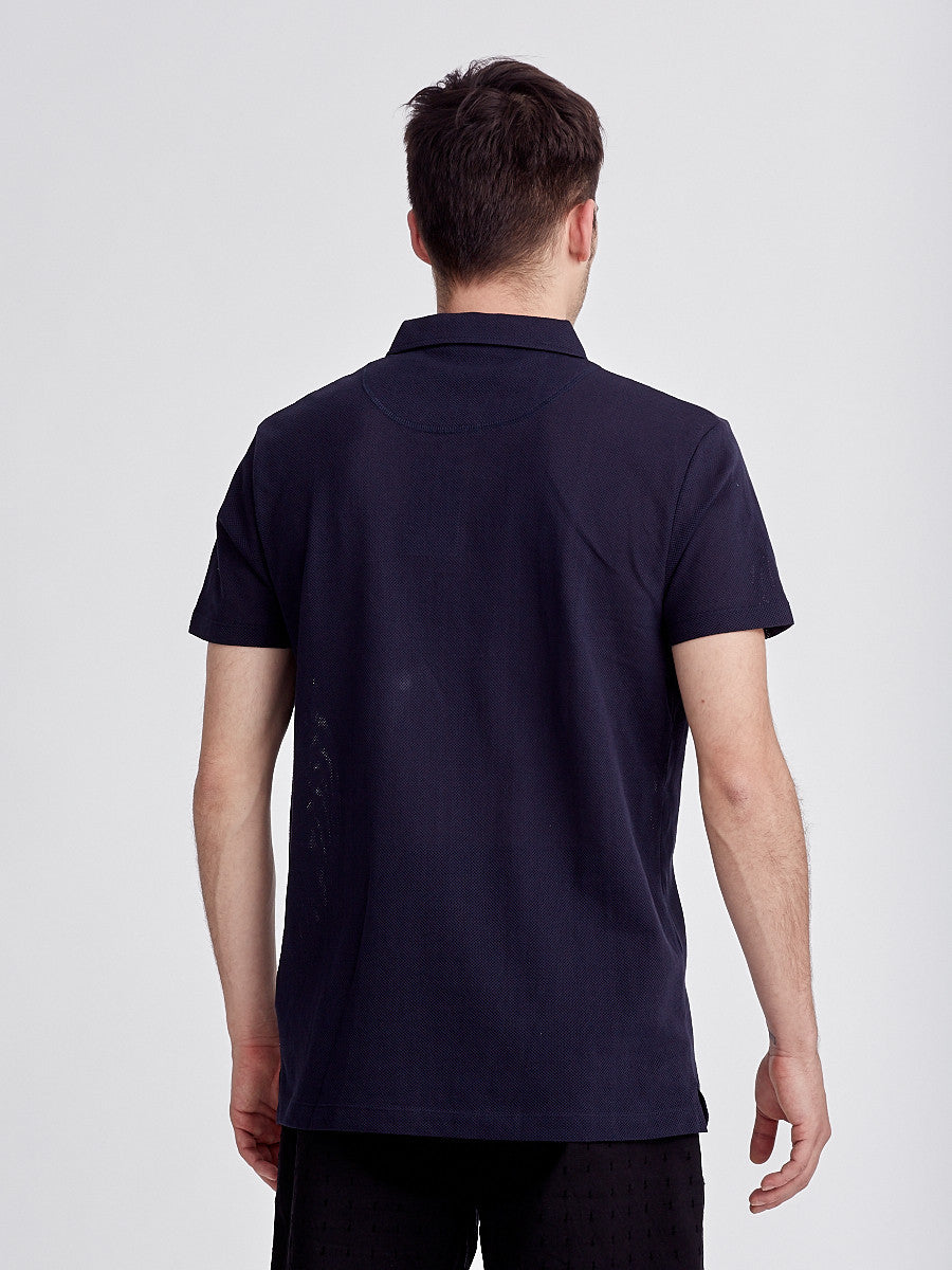 Riviera navy polo by Sunspel