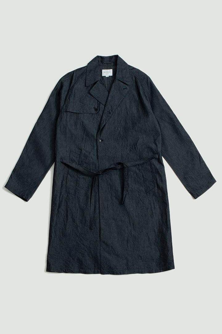 Silk mix indigo coat grey