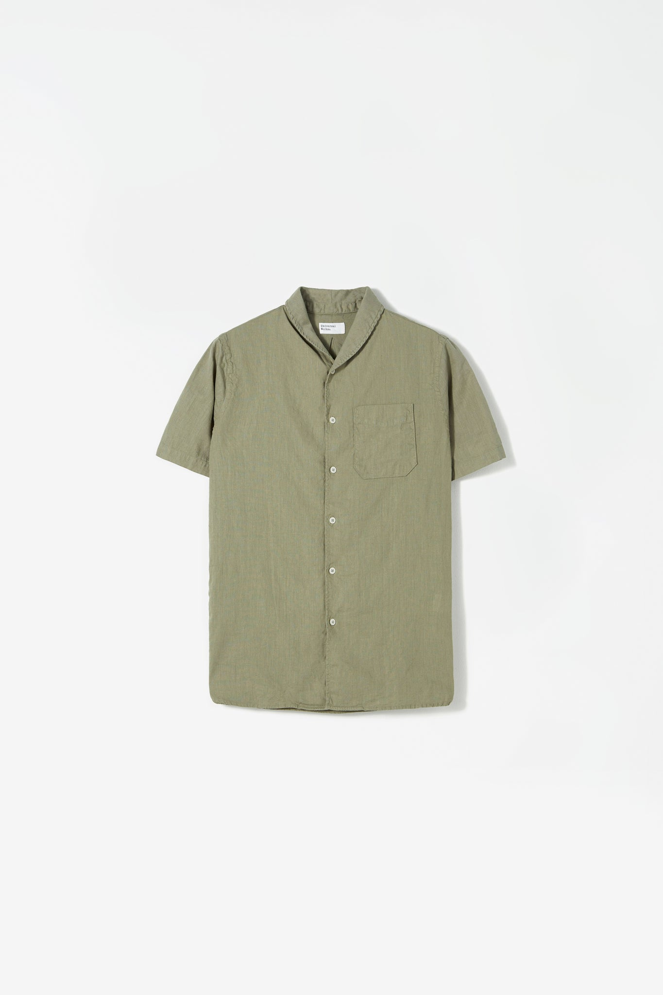 Shawl collar shirt linen laurel