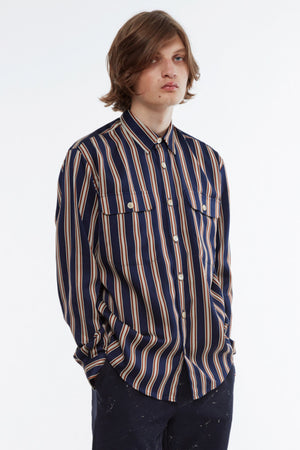 Shirt boxy stripe navy/rust/sand