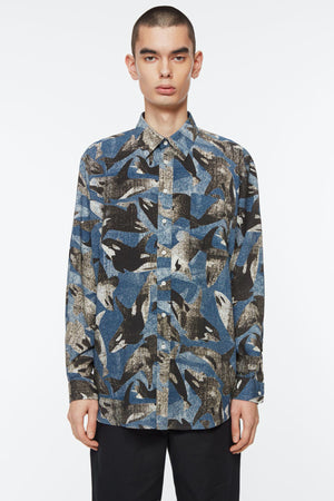 Shirt non binary killer whale print