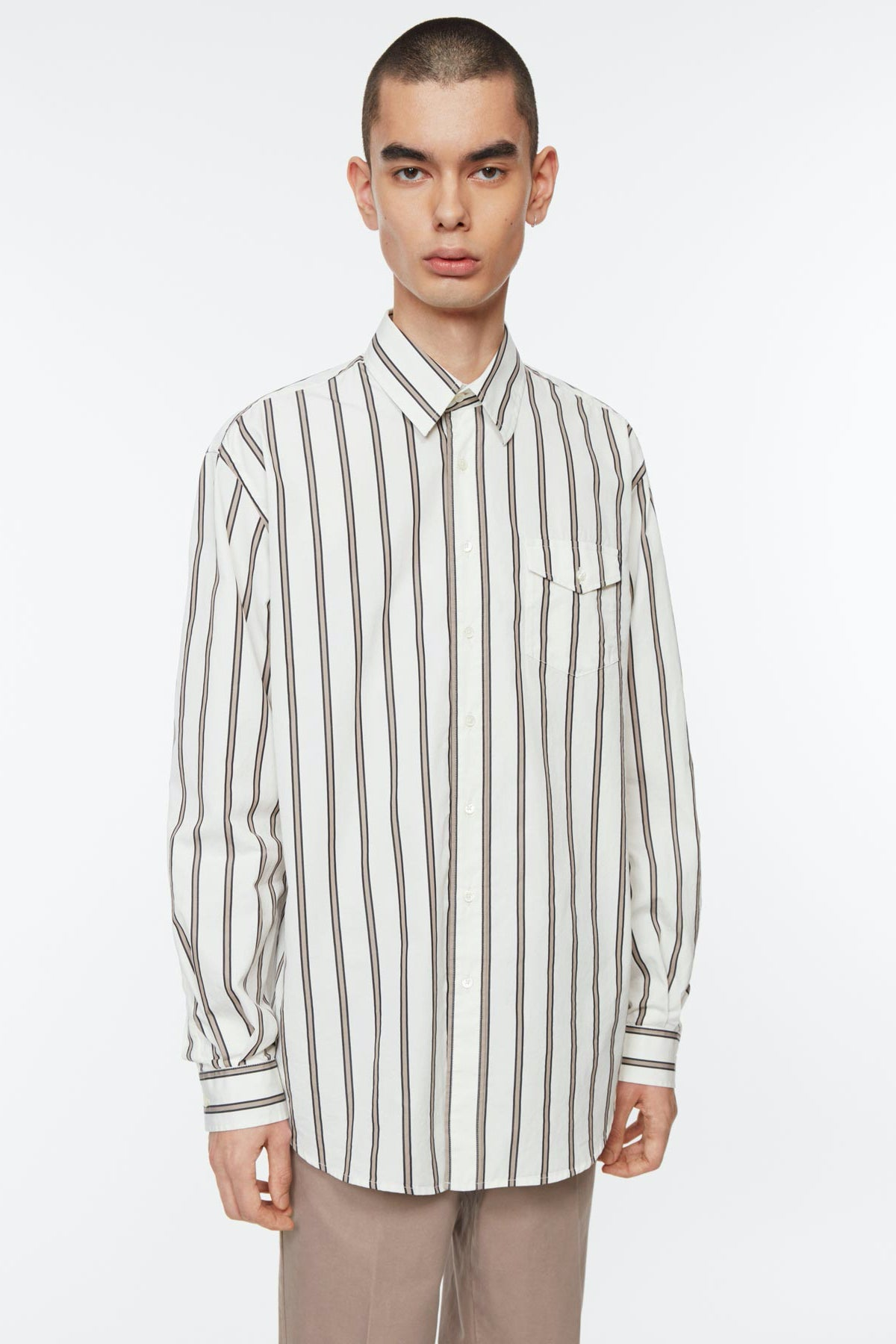 Shirt oversized poplin stripe white/black/khaki
