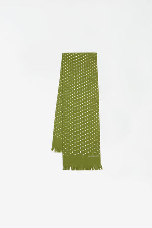 Short scarf dot print green