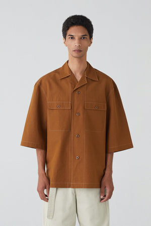 Short sleeve pyjama shirt tobacco