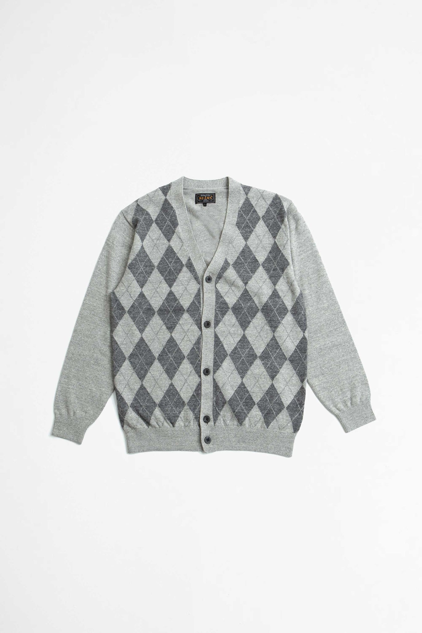 Cardigan cotton argyle grey