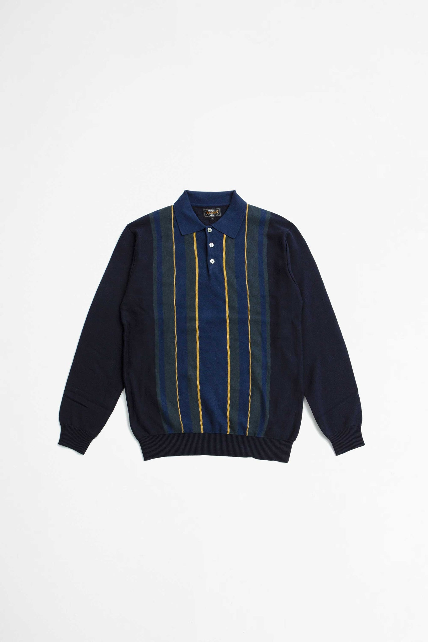 Knit polo stripe navy