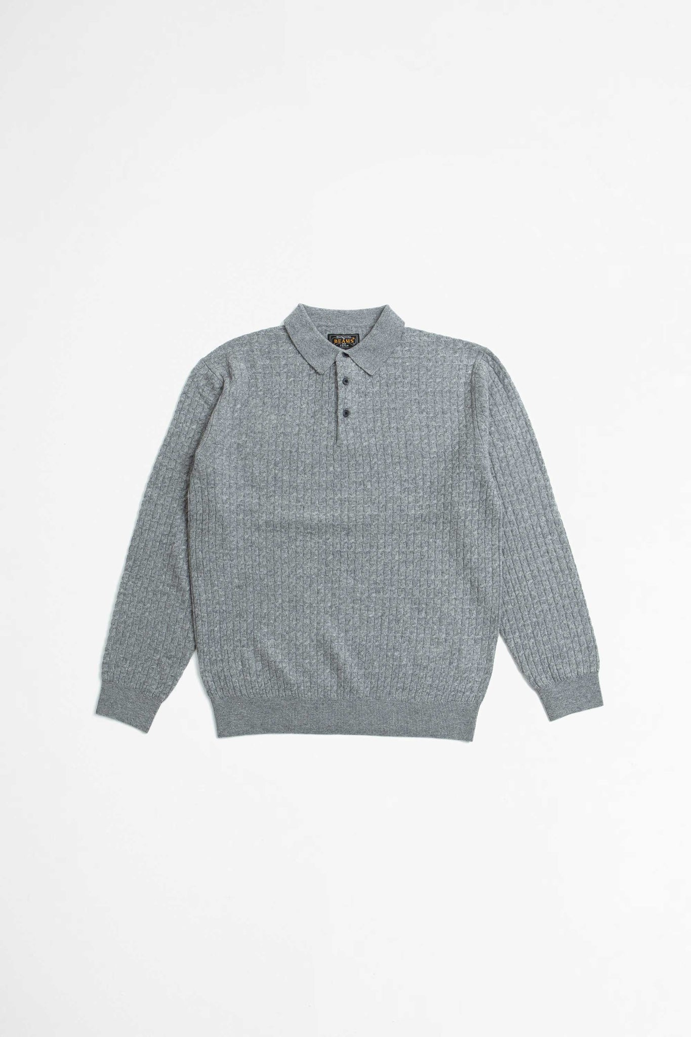 Knit polo cable grey