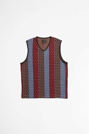 Knit vest stripe jacquard multi