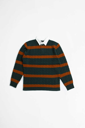 Knit rugger cable stripe sweater green