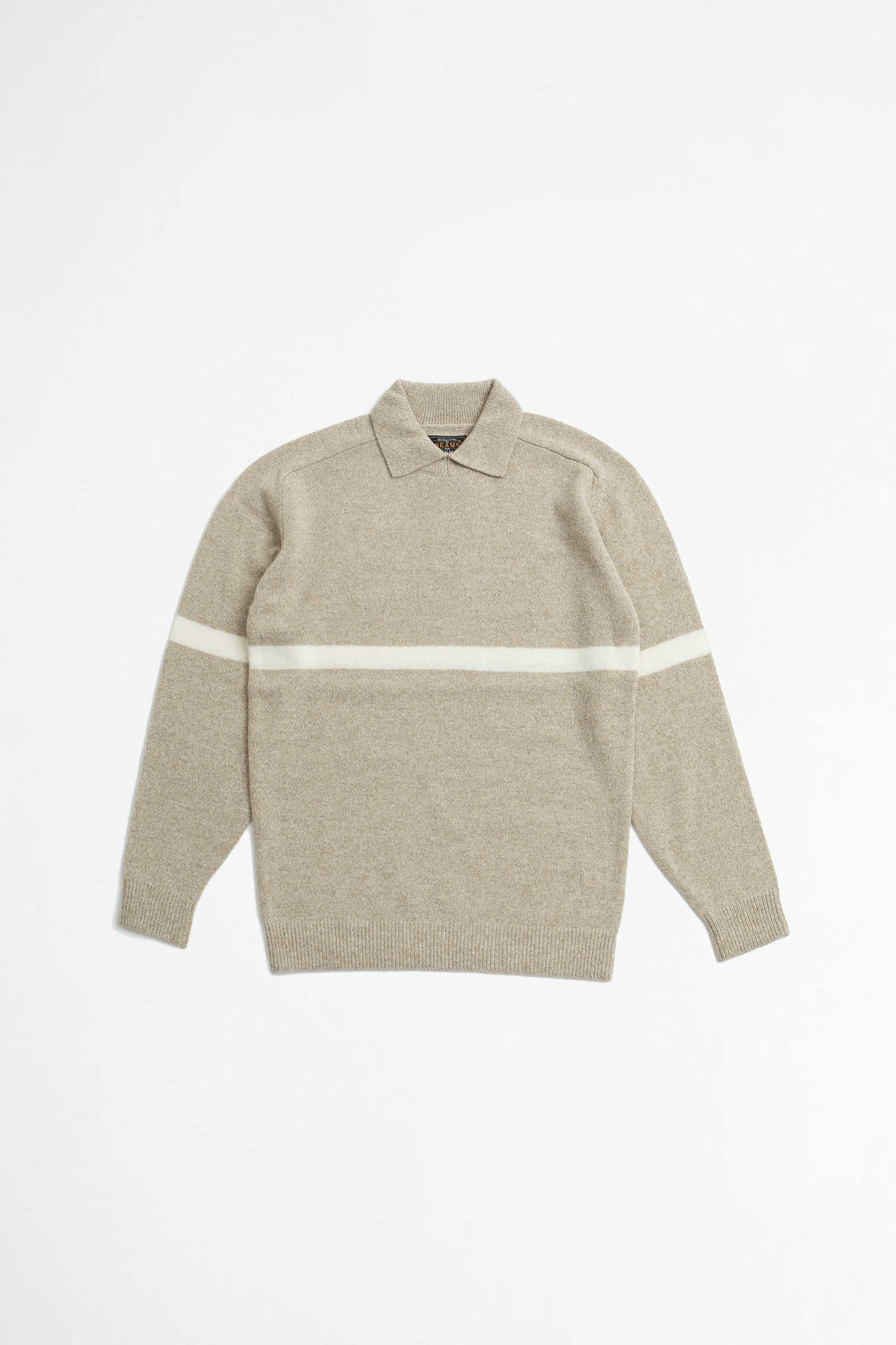 Mil collar striped sweater beige