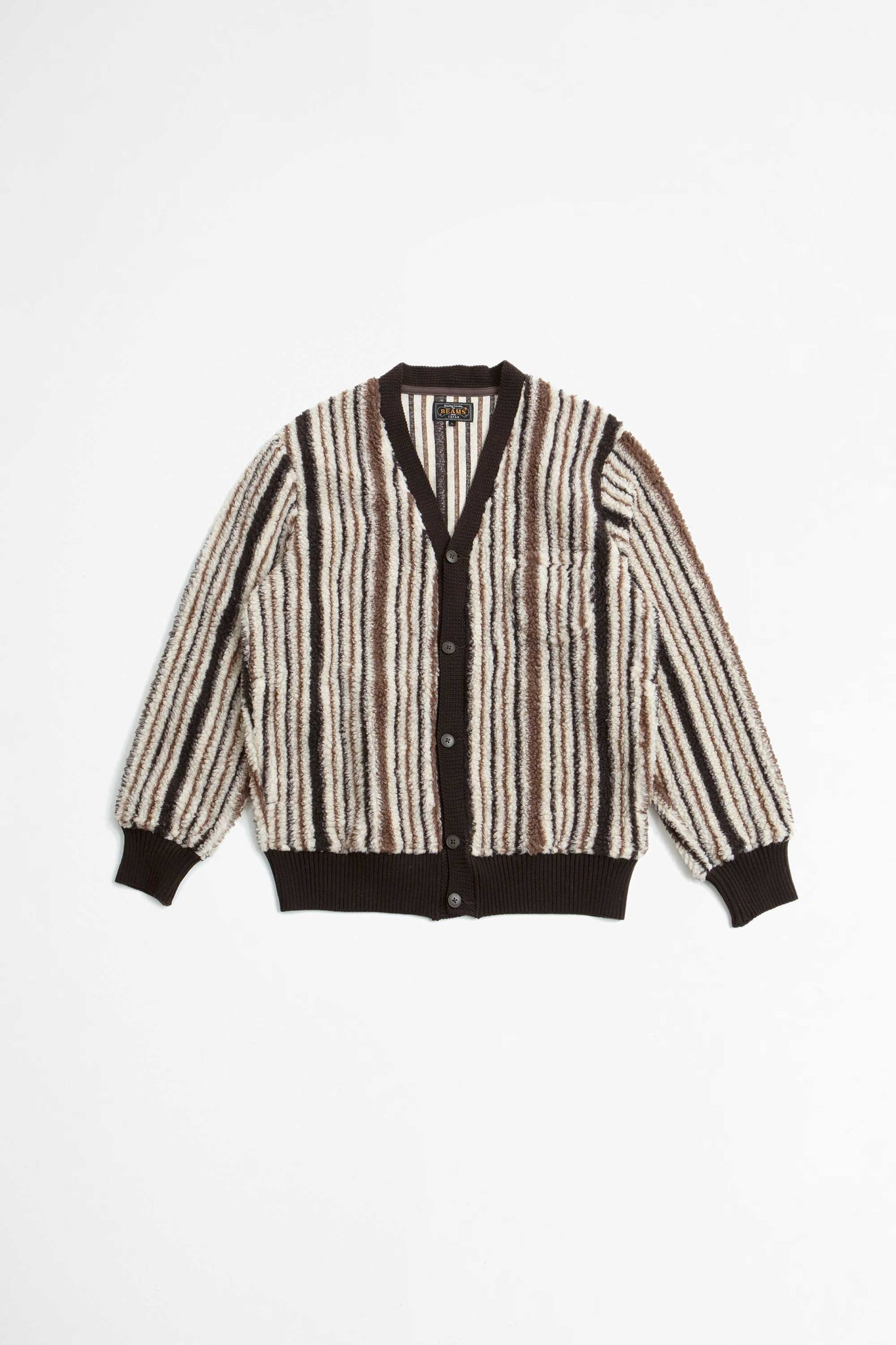 Fleece cardigan stripe brown