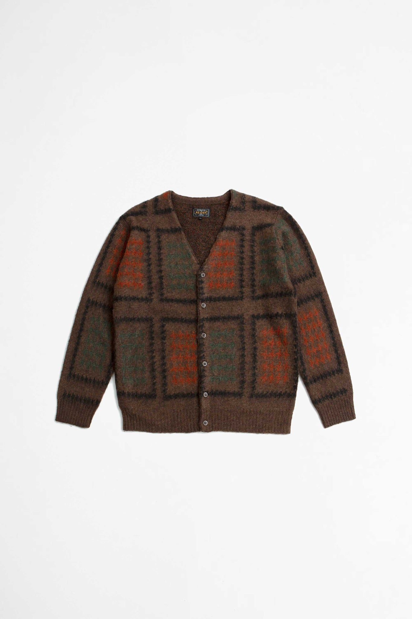 Cardigan double jacquard brown