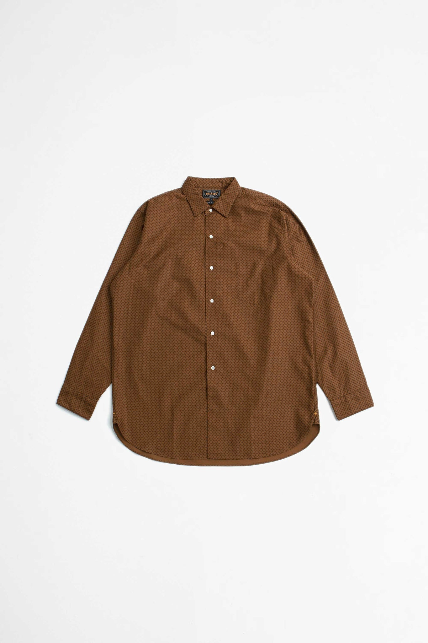 Moleskin geometric print shirt brown