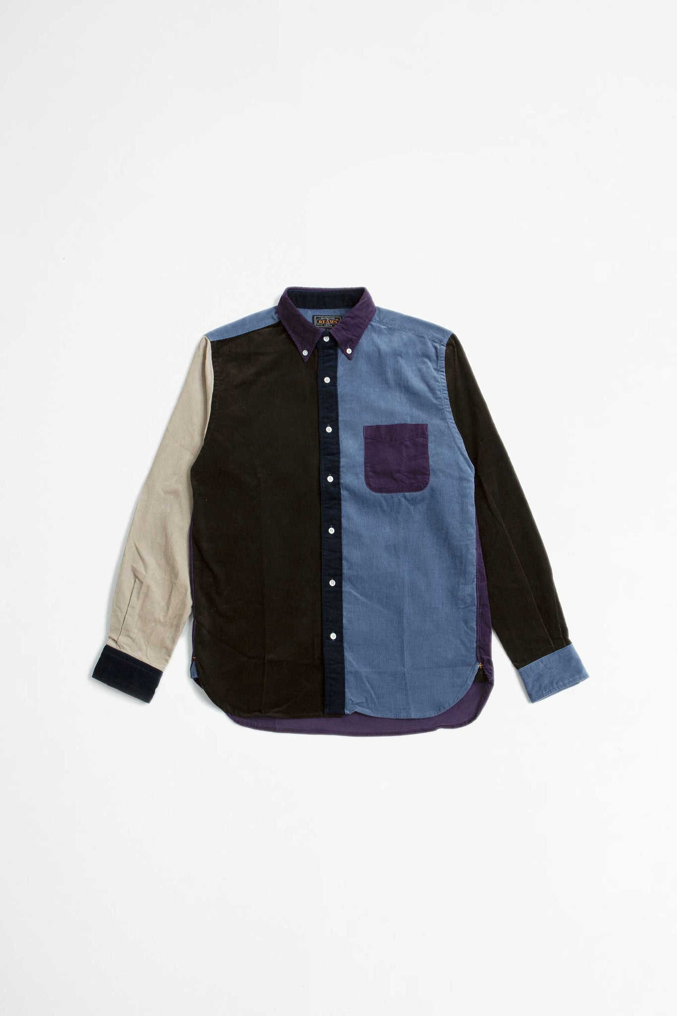 Multi pattern corduroy shirt purple