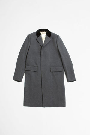 Contrast collar single breasted coat grey