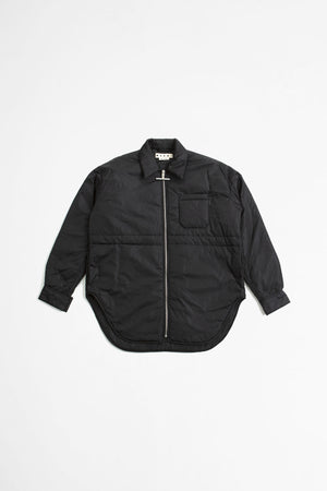 Zip-up oversize padded shirt jacket black