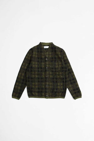 Cardigan wool sherpa fleece olive