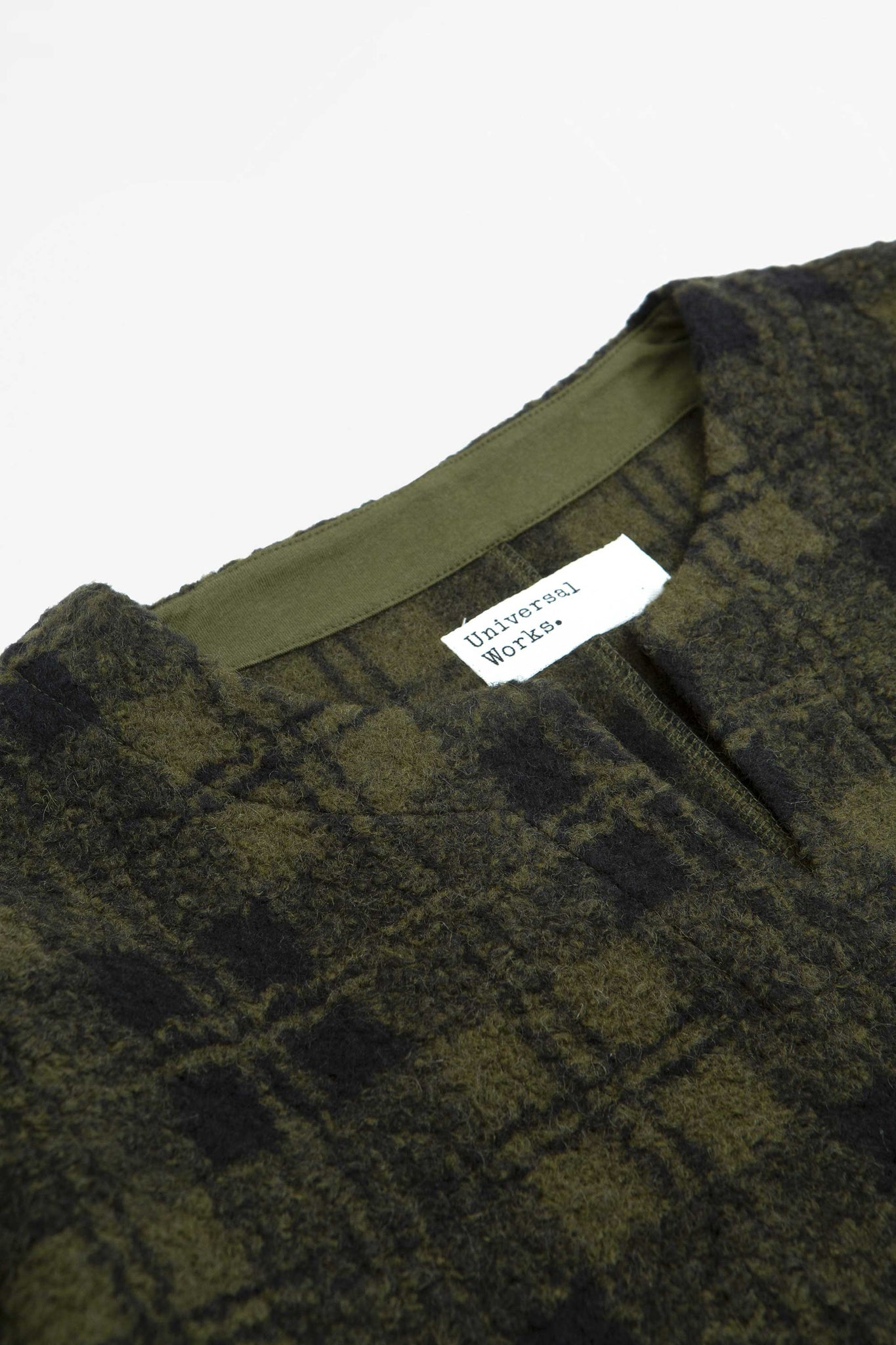 Oversized split neck wool sherpa fleece olive