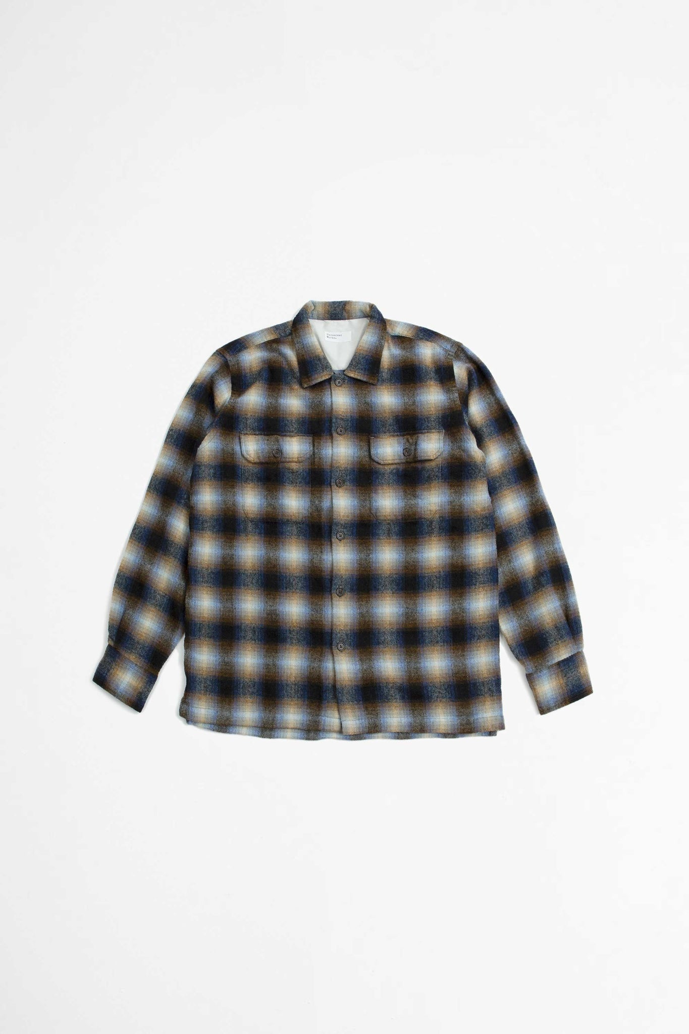 L/S utility shirt texas wool plaid navy