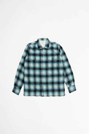 L/S utility shirt texas wool plaid turquoise