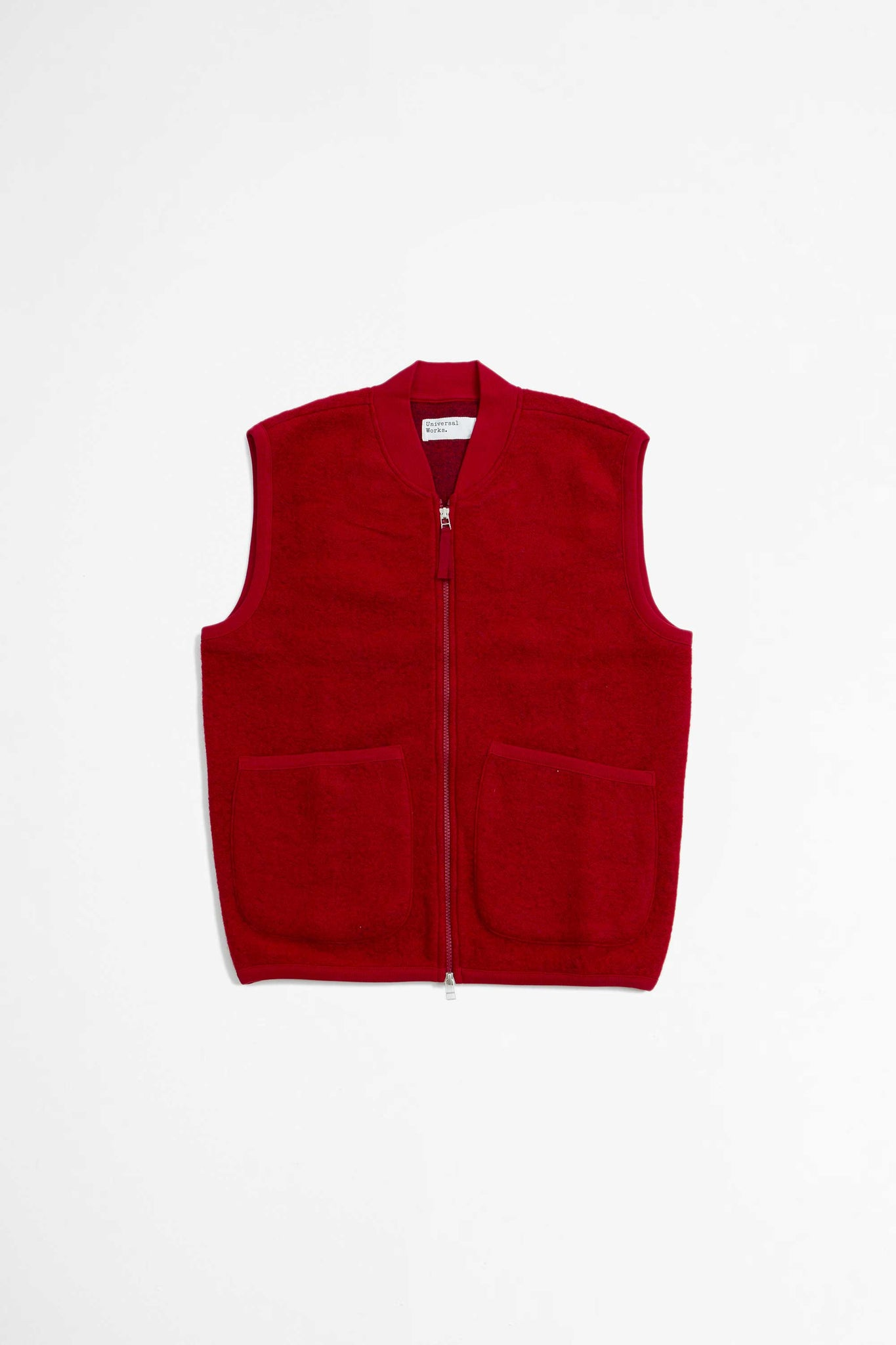 Zip waistcoat wool fleece red