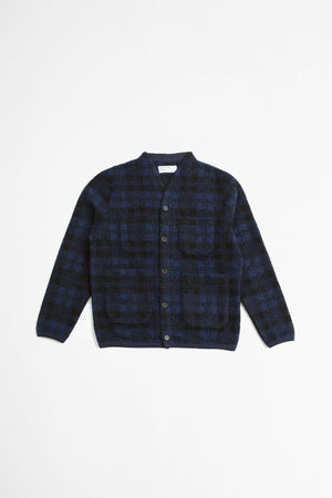 Cardigan wool sherpa fleece navy