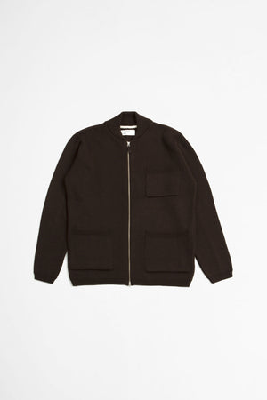 Zip knit work jacket merino chocolate
