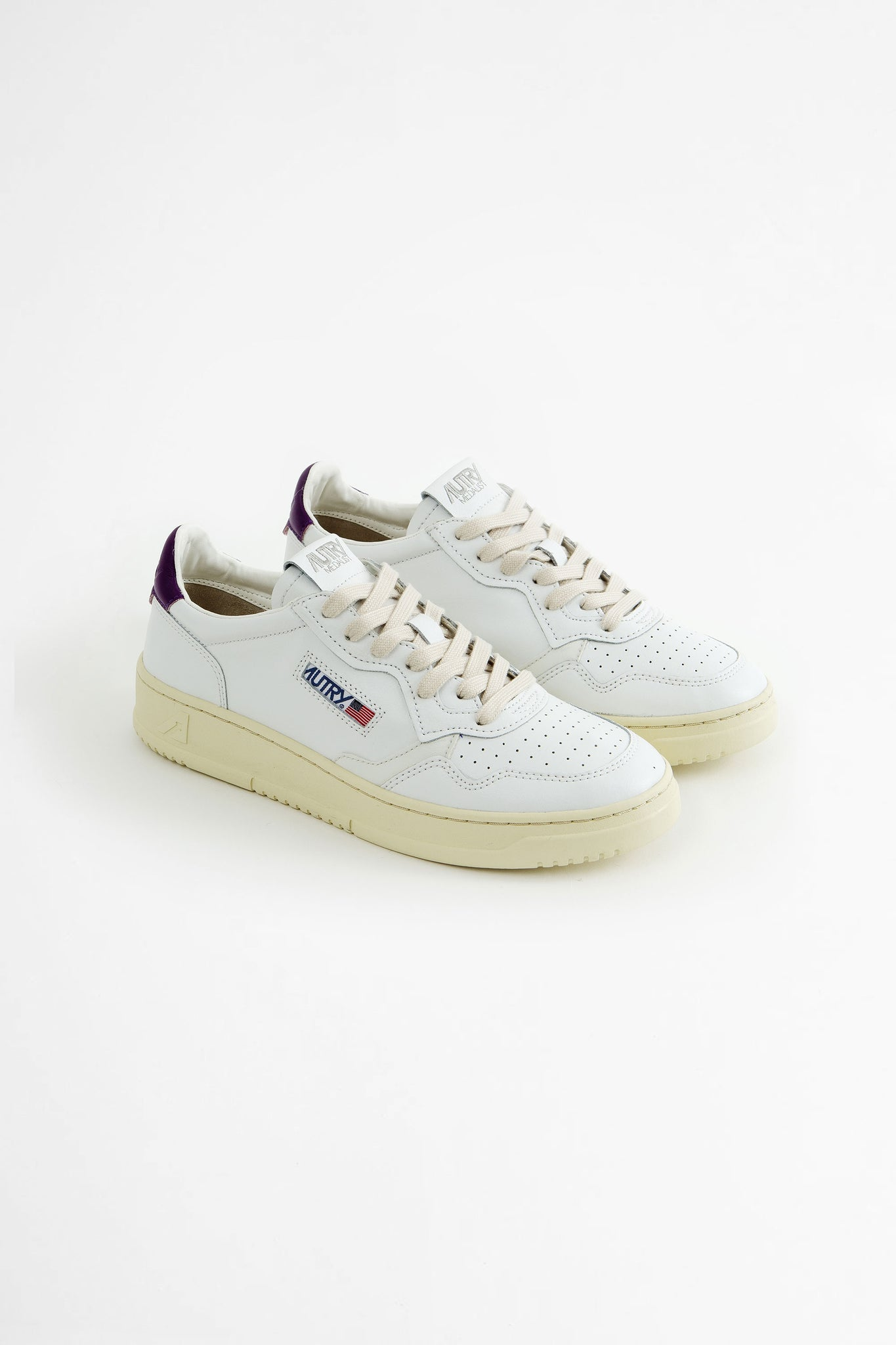 Low sneakers all leat white/violet