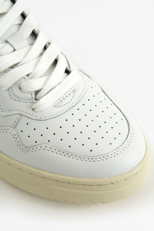 Low sneakers leat/leat white/ dark green