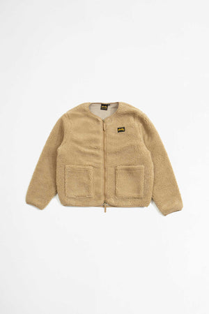 Fleece layer cardigan khaki