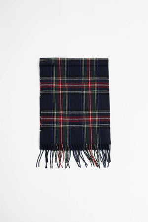 Scarf in navy tartan wool