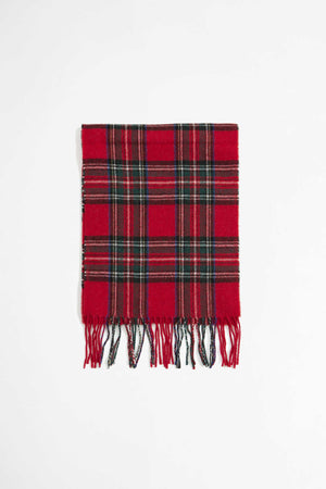 Scarf in red tartan wool