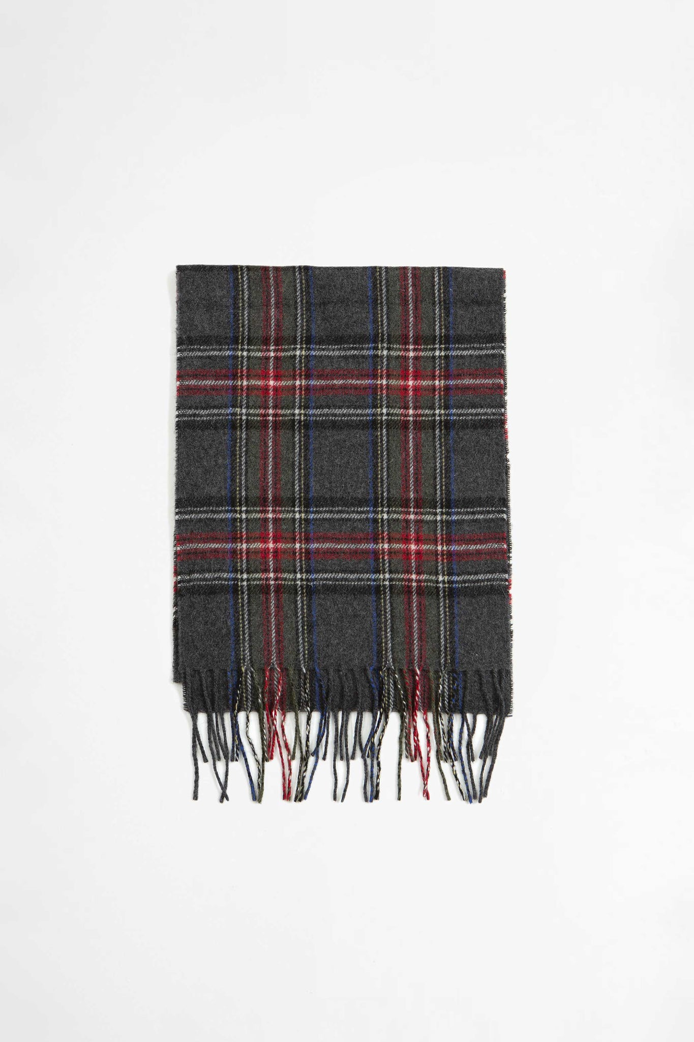 Scarf in charcoal tartan wool