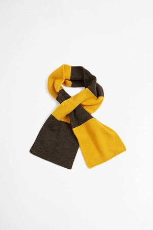 Deluxe scarf in chocolate/yellow soft wool