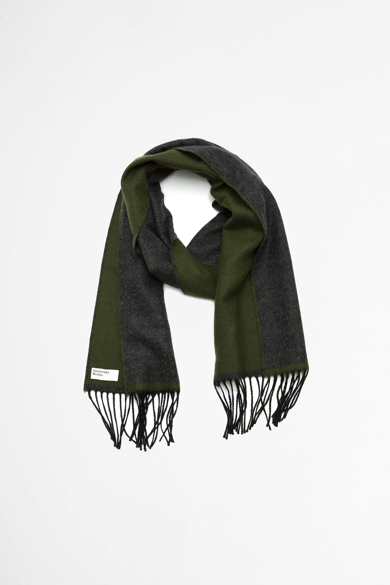 Double sided scarf olive/charcoal