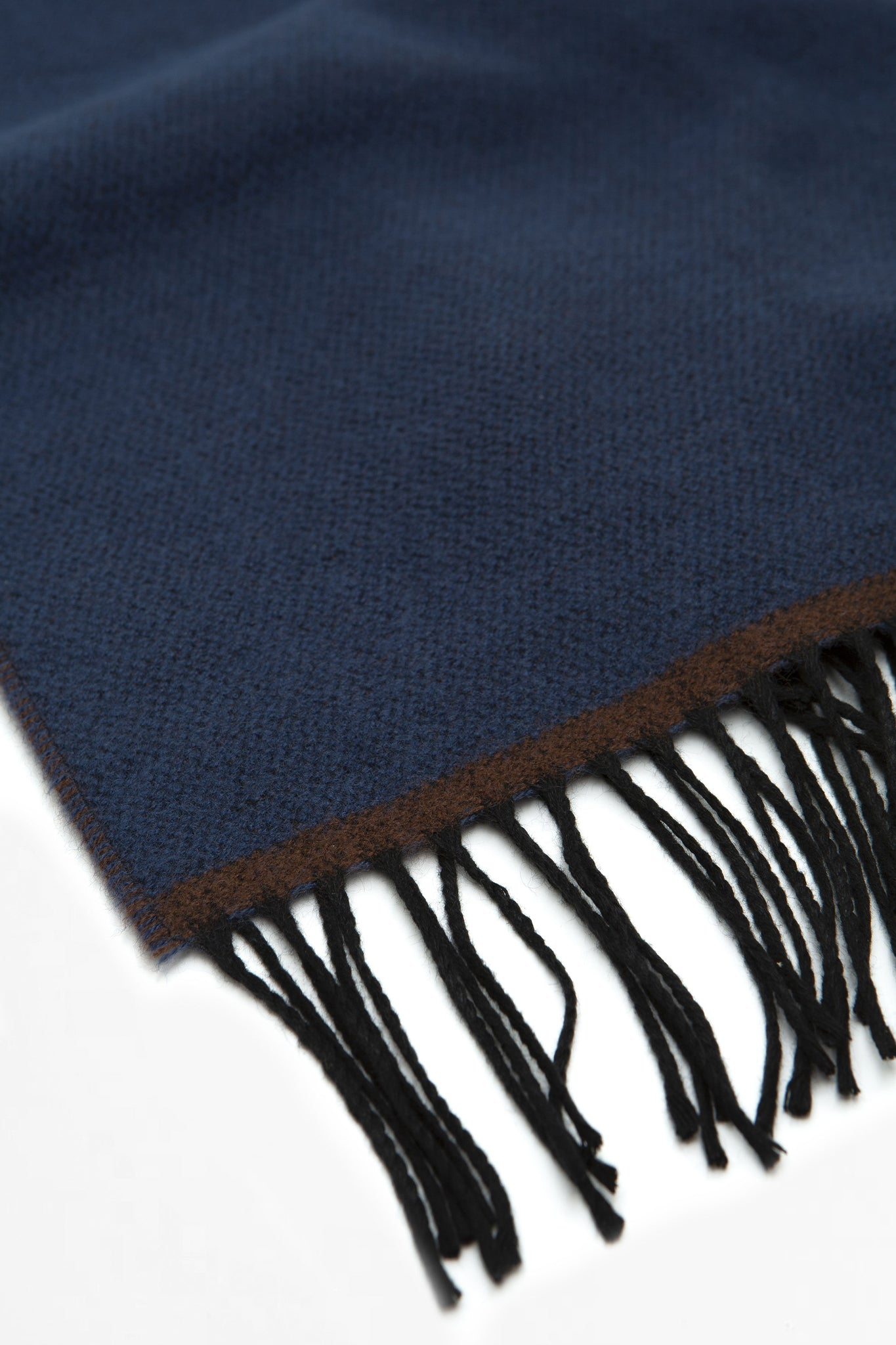 Double sided scarf blue/chocolate