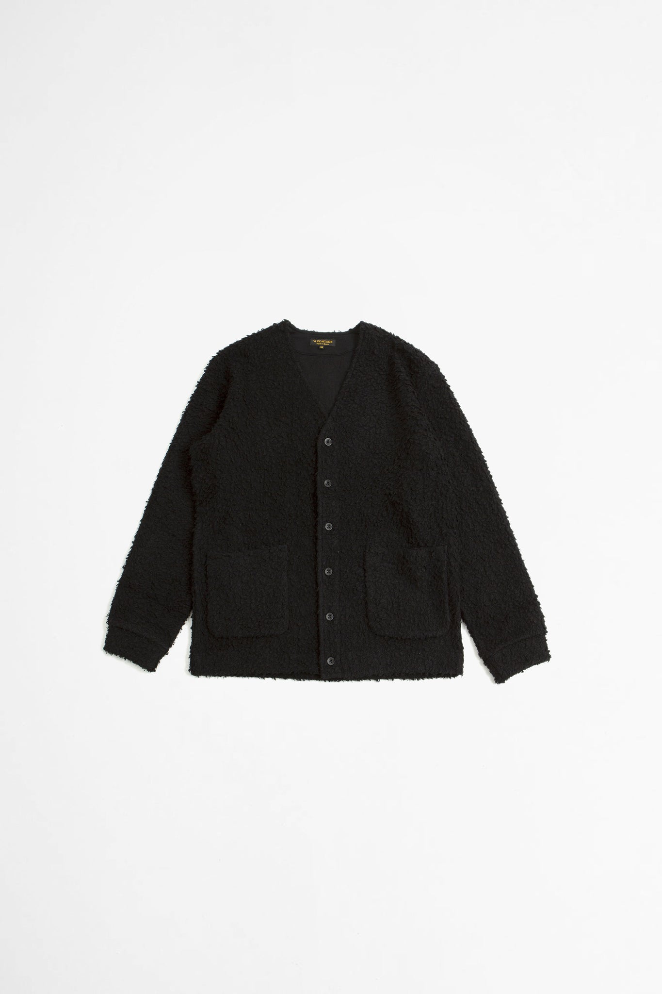 Wool boa v-neck cardigan black
